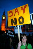 CND demonstration on the night of the Parliament Trident replacement vote. Westminster, London. - Jess Hurd - 14-03-2007