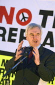 John McDonnell MP addresses a CND demonstration on the night of the Parliament Trident replacement vote. Westminster, London. - Jess Hurd - 14-03-2007
