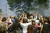 Riot police use water canon against protests at the G8 summit in Heiligendamm, Rostock, Germany. - Jess Hurd - 07-06-2007
