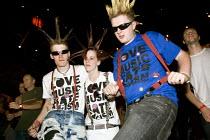 Punks celebrating 30 years of Rock Against Racism. Love Music Hate Racism Gig. Spice Festival. Hackney Empire, London. - Jess Hurd - 19-07-2007