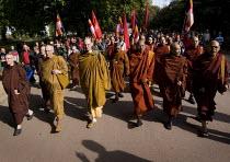 Buddhist monks lead a demonstration for democracy in Burma, Battersea, London. - Jess Hurd - ,&,2000s,2007,activist,activists,belief,buddha,Buddhism,buddhist,buddhists,Burma,Burmese,CAMPAIGN,campaigner,campaigners,CAMPAIGNING,CAMPAIGNS,conviction,democracy,DEMONSTRATING,demonstration,DEMONSTR