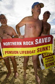 Ex employees from Dexion hold a naked protest about their robbed pensions outside the Labour Party Conference, Bournemouth 2007. - Jess Hurd - 25-09-2007