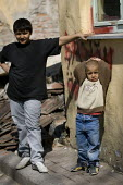 Children on the streets of rubble of the already demolished house as the council clears Sulukule, an historic gypsy area. Istanbul, Turkey. - Jess Hurd - 16-03-2008