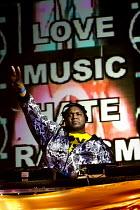 PCS dance tent. Love Music Hate Racism Carnival celebrates the anniversary of Rock Against Racism. Victoria Park, East London. - Jess Hurd - 27-04-2008