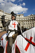 BNP mayoral candidate Richard Barnbrook celebrates St Georges Day dressed up as the knight in armour. London. - Jess Hurd - 23-04-2008