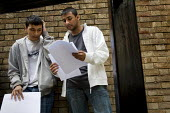 Students get their A Level results, Sir John Cass Foundation and Redcoat School in Stepney, Tower Hamlets, East London. - Jess Hurd - 2000s,2008,adolescence,adolescent,adolescents,Asian,asians,BAME,BAMEs,Bangladeshi,Bangladeshis,Bengali,Black,BME,BME Black minority ethnic,bmes,boy,boys,child,CHILDHOOD,children,cities,city,diversity,