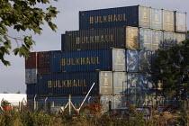 Shipping containers. Dagenham, East london. - Jess Hurd - 2000s,2008,boat,boats,bulkhaul,capitalism,capitalist,cargo,cities,city,container,containers,Dagenham,EBF,EBF Economy,Economic,Economy,Freight,haulage,Industries,industry,maker,makers,making,marine,mar
