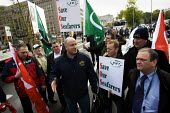 RMT demonstration is prevented from marching to the European Parliament by Brussels police force. Protest against EU Maritime Regulations which have forced the tendering of the Clyde and Hebrides ferr... - Jess Hurd - 16-10-2008