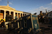 Concert outside the University building called after the fatal shooting by the police on Dec. 6 of a 15-year-old, Alexandros Grigorolopoulos. Athens, Greece - Jess Hurd - 19-12-2008