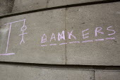Hang the bankers graffiti. G20 protests, Bank, City of London. - Jess Hurd - 2000s,2009,activist,activists,against,anti,anti capitalism,Anti Capitalist,avoidance,Bank,banker,bankers,banking,BANKS,CAMPAIGN,campaigner,campaigners,CAMPAIGNING,CAMPAIGNS,capital,capitalism,capitali