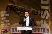 Nick Griffin speaks at the BNP launch their European Election Manifesto at a secret location. Grays, Essex - Jess Hurd - 11-05-2009