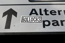 Bollocks sticker on an alternative parking sign. Cambridge. - Jess Hurd - 2000s,2009,activist,activists,AUTO,AUTOMOBILE,AUTOMOBILES,AUTOMOTIVE,CAMPAIGN,campaigner,campaigners,CAMPAIGNING,CAMPAIGNS,car,CARS,Climate Change,communicating,communication,CONGESTED,congestion,DEMO