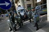 Police lines, G8 protests, Rome. Italy. - Jess Hurd - 2000s,2009,activist,activists,adult,adults,against,anti,CAMPAIGN,campaigner,campaigners,CAMPAIGNING,CAMPAIGNS,capitalism,capitalist,cities,city,CLJ,DEMONSTRATING,demonstration,DEMONSTRATIONS,eu,Europe