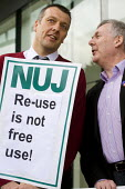 Jeremy Dear and John Toner join NUJ protest against Guardian News & Media's plans to stop paying freelance photographers for reuse of their pictures. London. - Jess Hurd - 01-09-2009