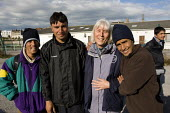 Refugees in Calais with volunteer charity workers from Salam. France. - Jess Hurd - 2000s,2009,Afghan,Afghan Afghans,Afghanistan,asylum seeker,asylum seeker,BME black,charitable,charity,charity charities,destitute,Diaspora,displaced,ethnic,ETHNICITY,eu,Europe,european,europeans,euroz