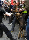 Photographer is attacked by a police dog. English Defence League march in Manchester countered by Unite Against Fascism. - Jess Hurd - 10-10-2009