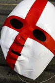 England flag mask. English Defence League march in Leeds - Jess Hurd - 31-10-2009