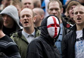 England flag mask. English Defence League march in Leeds - Jess Hurd - ,2000s,2009,activist,activists,against,anti,bigotry,CAMPAIGN,campaigner,campaigners,CAMPAIGNING,CAMPAIGNS,cross,Defence,DEFENSE,DEMONSTRATING,demonstration,DEMONSTRATIONS,DISCRIMINATION,EDL,equal,equa