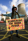 Scarecrows for green power. Climate Camp Swoop at the E.ON coal fired power station, Ratcliffe on Soar, Nottingham. - Jess Hurd - 2000s,2009,action,activist,activists,against,Camp,campaign,campaigner,campaigners,campaigning,CAMPAIGNS,camps,civil disobedience,Climate,Climate Change,coal,degradation,DEMONSTRATING,demonstration,DEM