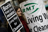RMT protest to demand a living wage for tube cleaners, many who are migrant workers and against privatisation and the subcontracting of their jobs. Metronet HQ, Holborn. London. - Jess Hurd - 18-11-2009