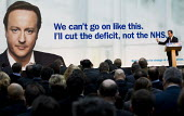 David Cameron. Conservative Party launch their draft manifesto. London. I'll cut the deficit not the NHS - Jess Hurd - 04-01-2010