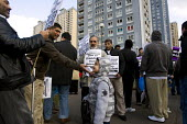 Refugees and asylum seekers march after the tragic death of a Kosovan family of three where three asylum seekers, the Serykh family jumped to their deaths. Red Road Flats, Springburn, Glasgow. Scotlan... - Jess Hurd - 13-03-2010