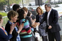 Gordon Brown arrives to launch Labour's Green Manifesto, Naim Dangoor Centre, Labour General Election Campaign, West London.   � - Jess Hurd - 25-04-2010