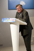 Ken Clarke. Press Conference responding to unemployment figures announced today. Milband, London. - Jess Hurd - 21-04-2010