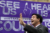 Mark Thomas political comedian. Take Back Parliament protest, Demo for Democracy. Campaign for proportional representation. Westminster. - Jess Hurd - 15-05-2010
