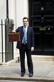 Chancellor George Osborne, leaves number 11 Downing Street to deliver his Emergency Budget to Parliament. Westminster, London. - Jess Hurd - 22-06-2010