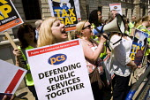 PCS members protest against public sector cuts as Chancellor George Osborne, leaves number 11 Downing Street to deliver his Emergency Budget. - Jess Hurd - 22-06-2010