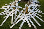 Crosses form a protest against the destruction of the animals, fish and shellfish due to the Gulf of Mexico BP oil spill. Grand Isle, Louisiana. USA. - Jess Hurd - 10-08-2010