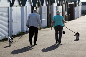 Elderly couple walk their dogs by the sea in Shoeburyness, Essex. - Jess Hurd - 2010,2010s,adult,adults,age,ageing population,animal,animals,Beach Hut,Beach Huts,canine,COAST,coastal,coasts,couple,COUPLES,dog,dogs,elderly,exercise,exercises,exercising,holiday,holiday maker,holida