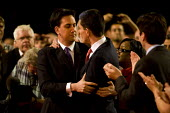 Ed Miliband is elected Labour Leader and hugs his brother David Miliband. Labour Party Conference. Manchester. - Jess Hurd - 25-09-2010