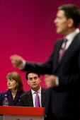 David Miliband MP as brother Ed Miliband and winner in the leadership race looks on. Labour Party Conference. Manchester. - Jess Hurd - 27-09-2010
