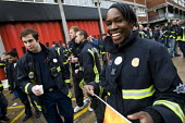 Firefighters mass picket at Poplar Fire Station. FBU members walkout over new contracts, shift working and mass sackings. Tower Hamlets, East London. - Jess Hurd - 2010,2010s,adult,adults,BAME,BAMEs,black,black white,BME,bmes,DISPUTE,DISPUTES,diversity,ethnic,ETHNICITY,FBU,Fire,fire brigade,FIREFIGHTER,firefighter firefighters,Firefighters,fireman,firemen,fires,