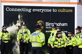 Policing at the Conservative Party Conference. Birmingham. Connecting everyone to culture Big City council advertisement. - Jess Hurd - 2010,2010s,ACE,adult,adults,advert,ADVERTISED,advertisement,advertisements,advertising,ADVERTISMENT,adverts,campaign,campaigning,CAMPAIGNS,cities,city,CLJ,council,Council Services,Council Services,cul