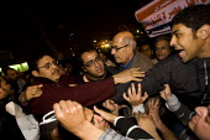 Mohamed ElBaradei, former head of the IAEA, joins the protests. Uprising against Mubark, Al-Tahrir (Liberation Square), Cairo, Egypt - Jess Hurd - 30-01-2011