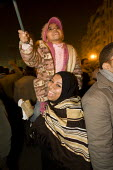 Protesters celebrate after hearing the announcement that President Mubarak would not stand in the September elections. Uprising against Mubarak, Al-Tahrir (Liberation Square), Cairo, Egypt - Jess Hurd - 31-01-2011