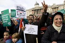 Global Day for Egypt organised by the TUC and Amnesty International. People celebrate the resignation of Mubarak. Trafalgar Square, Lomdon. - Jess Hurd - 12-02-2011