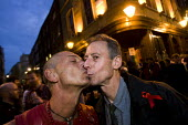 Gay rights campaigner Peter Tatchell joins a Facebook organised kiss-in outside John Snow pub after James Bull and Jonathan Williams were asked to leave on Wednesday night by a staff member who allege... - Jess Hurd - 15-04-2011