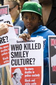 Supporters and family of the singer Smiley Culture have marched to Scotland Yard calling for a public inquiry into his death. The 80's reggae artist died from a stab wound while in police custody duri... - Jess Hurd - ,2010s,2011,activist,activists,adult,adults,artist,ARTISTS,BAME,BAMEs,Black,BME,bmes,CAMPAIGN,campaigner,campaigners,CAMPAIGNING,CAMPAIGNS,child,CHILDHOOD,children,custody,David,DEATH,death in police
