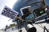 """Photographers hold a Flashmob outside City Hall to highlight the arbitrary restrictions on photography by security guards across the city. Organised by the """" I'm a Photographer Not a Terrorist! """" camp... - Jess Hurd - 03-05-2011"""