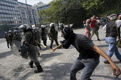 Confrontations between police and protesters outside the Greek parliament during a general strike against austerity cuts. Syntagma Square, Athens, Greece. - Jess Hurd - 15-06-2011