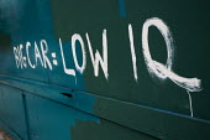 Environmental graffiti in Wapping: Big Car = Low IQ. London. - Jess Hurd - 10-07-2011