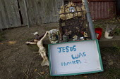 Travellers grotto, Jesus was homless 2 at Dale Farm ahead of the planned eviction by Basildon Council. Essex. - Jess Hurd - 16-09-2011