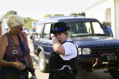 PCSO breaks down as travellers from Dale Farm move their chalets to safety ahead of fighting the eviction by Basildon Council, Essex. London. - Jess Hurd - 16-09-2011