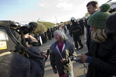 Kathleen McCarthy (Peal) giving an interview to the media. Travellers from Dale Farm are evicted by bailiffs and police hired by Basildon Council. Essex - Jess Hurd - 20-10-2011