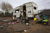 A derelict and vandalised caravan on Dale Farm traveller site post eviction. Travellers report that the site and water supply is conaminated, after Basildon council bailiffs bulldozed the site, remove... - Jess Hurd - ,2010s,2011,BAME,BAMEs,bigotry,BME,bmes,broken,caravan,caravans,CHILD,CHILDHOOD,children,claim,closed,closing,closure,closures,council,derelict,DERELICTION,deserted,destroyed,destruction,DISCRIMINATIO