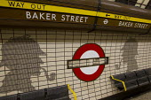 Baker Street platform sign has been stolen. The street is famous for its connection to the fictional detective Sherlock Holmes, shown in silhouette. Baker Street London Underground railway station. - Jess Hurd - 25-01-2012